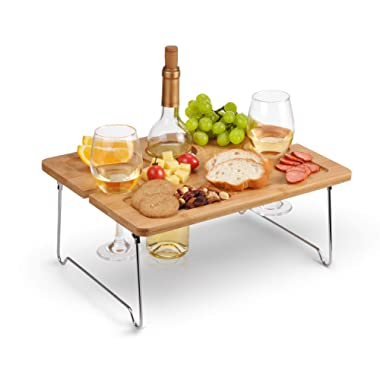 Tirrinia Outdoor Wine Picnic Table, Folding Portable Bamboo Wine Glasses & Bottle, Snack and Cheese Holder Tray for Concerts at Park, Beach, Ideal Wine Lover Gift