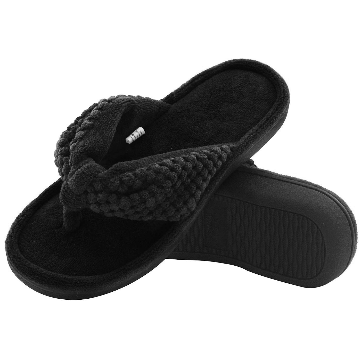 e32e839326f8f ULTRAIDEAS Women's Memory Foam Flip Flop Slippers with Cozy Terry Lining,  Moisture-Wicking Open Toe Slip On Spa Thong Sandals Mules, Ladies' House ...