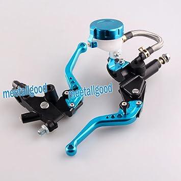 gzyf Universal Motocicleta CNC embrague Cilindro maestro de freno Set palancas de depósito azul