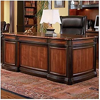 Coaster Home Office Executive Desk In Two Tone Warm Brown Finish