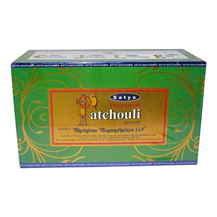 Satya Natural Patchouli Agarbatti Pack of 12 Incense Sticks Boxes, 15gms  Each, Traditionally Handrolled in India, Candles with Natural Scent for