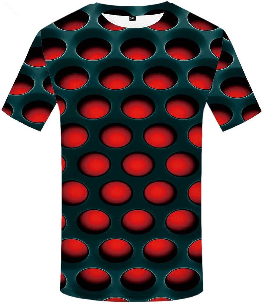 KYKU Camiseta de manga corta para hombre, diseño psicodélico 3D - Rojo - Medium: Amazon.es: Ropa y accesorios