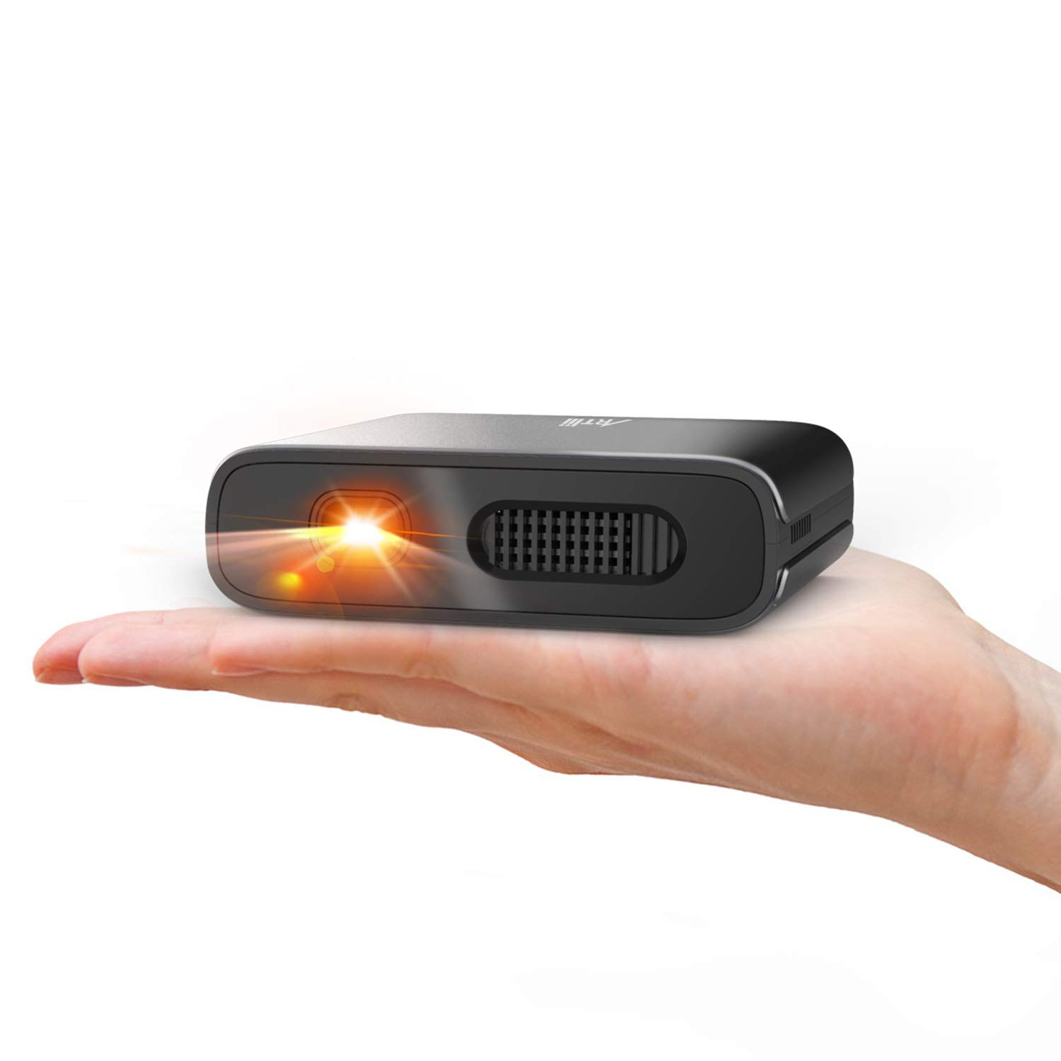 Mini Projector - Artlii Portable DLP Projector with 5200mAh Built-in Battery for Travel and Outdoor, Support 1080P 3D and Auto Keystone Correction, Pico Projector Compatible with iPhone and Smartphone by ARTlii