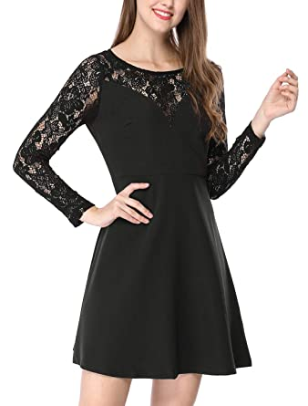2c453f1893c590 Allegra K Women's A-Line Above Knee Semi Sheer Panel Lace Dress XS Black
