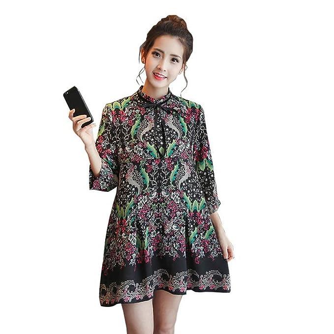 HZFF Chiffon vestido, la versión coreana, vestido de maternidad, mujeres embarazadas de siete