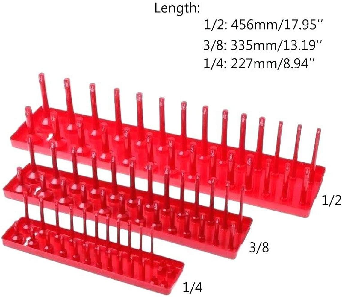 3//8-Inch /& 1//2-Inch Drive Deep and Shadow Socket Holders for Toolboxes Red SAE /& Black Metric Socket Storage Trays 6PCS Socket Organizer Tray Set 1//4-Inch