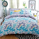 Huesland by Ahmedabad Cotton 3 Piece Cotton Double Duvet Cover with Zipper - Blue, Grey
