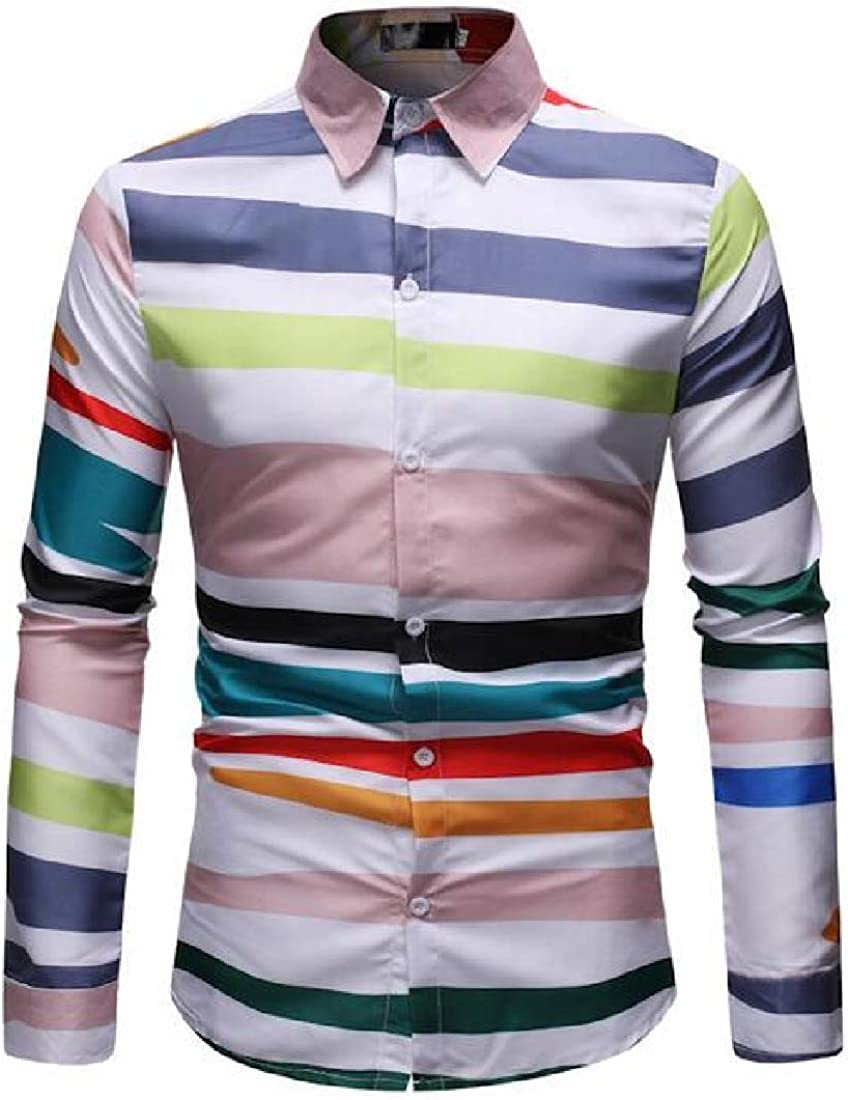 Jofemuho Men Casual Shirts Striped Long Sleeve Button Down Dress Work Shirt