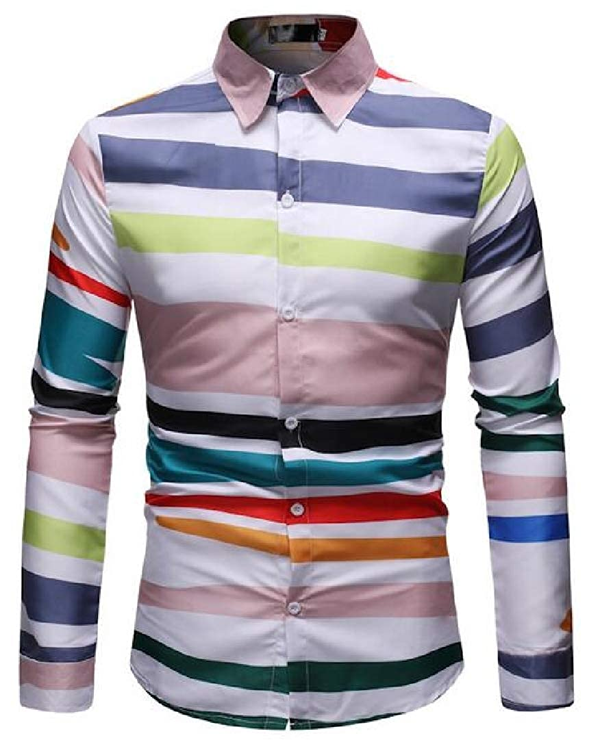 Fubotevic Mens Casual Shirts Striped Button Up Long Sleeve Dress Work Shirt