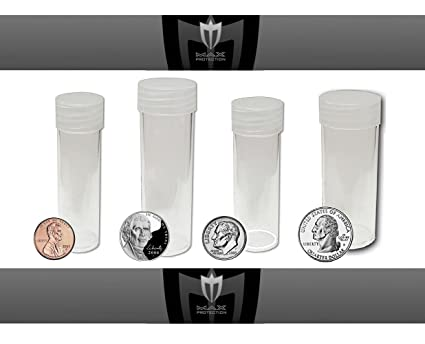 10 Round US Nickel 5 Cent Clear Plastic Coin Storage Tubes w// Screw On Caps BCW