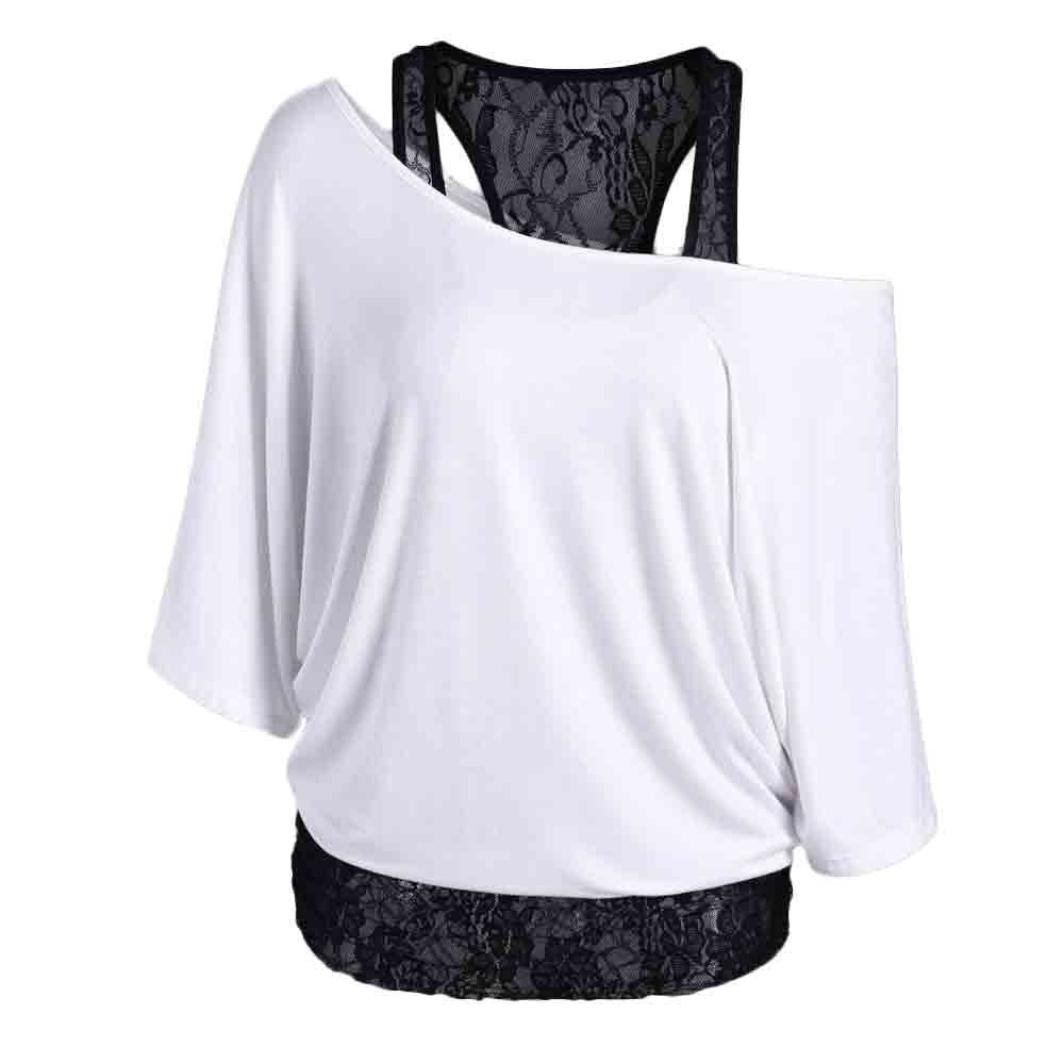 Kshion Women Lace Loose Casual Long Sleeve Tops Blouse Shirt Plus Size (XL, White)