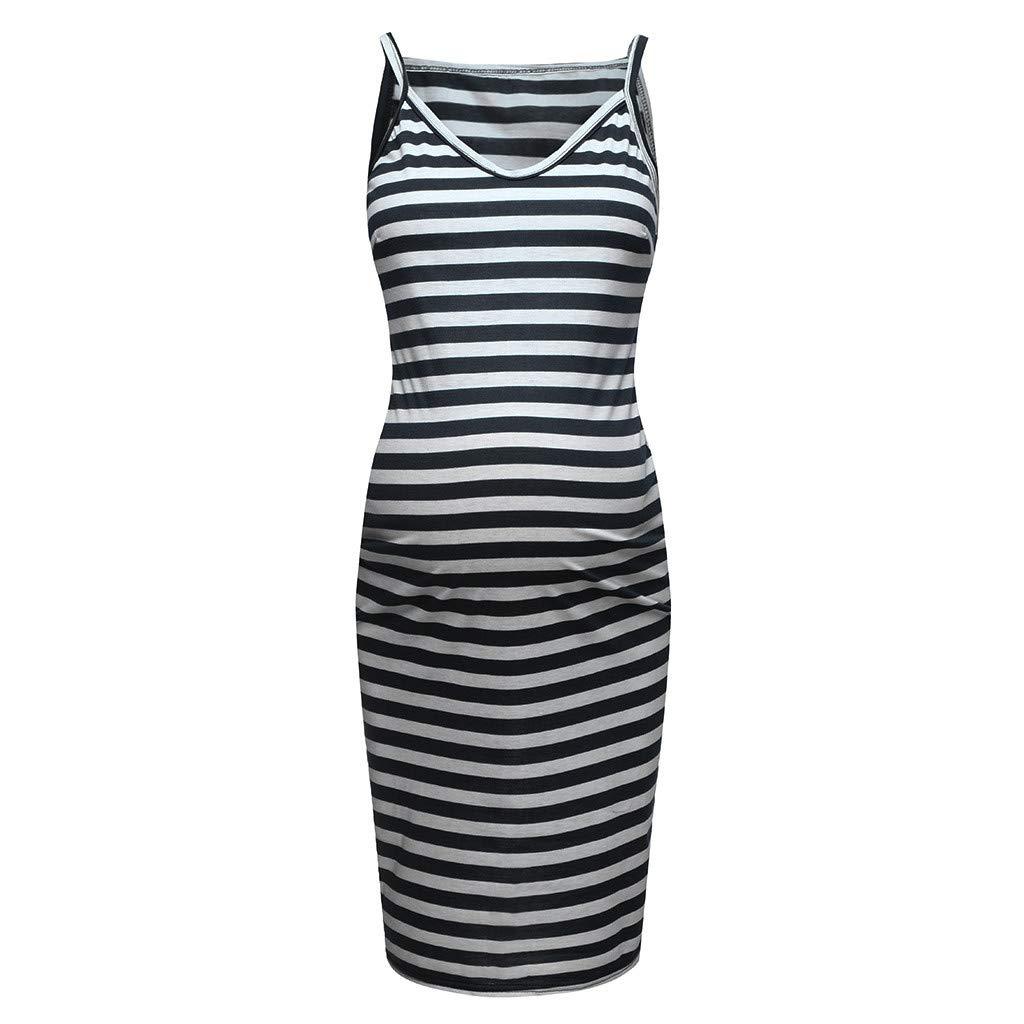Forthery Maternity Dress,Hot Sales Sleeveless Striped Print Breastfeeding Sundress Pregnancy Summer Dress