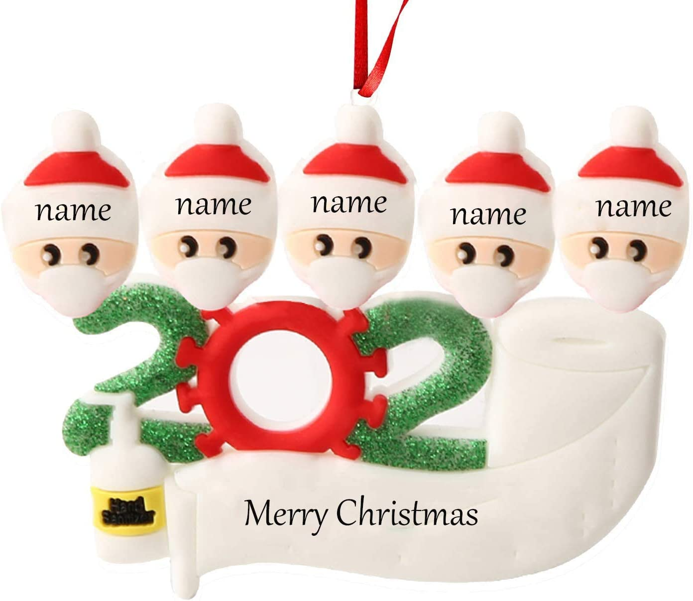 2020 Christmas Ornament Decorations Newest Theme Creative Gift Tree Ornament Kit Hanging Accessories for Home Indoor Outdoor (Family of 5)