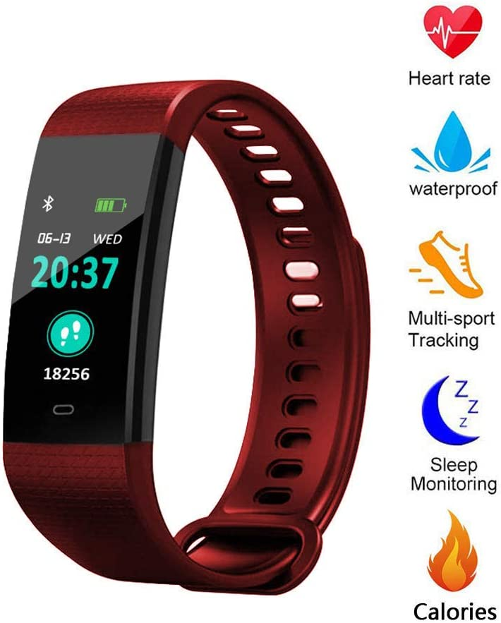 Blood Pressure Monitor Watch,Color Screen Fitness Tracker with Heart Rate Blood Oxygen Monitor,Smart Wristband with Calorie Counter Watch Pedometer Sleep Monitor red