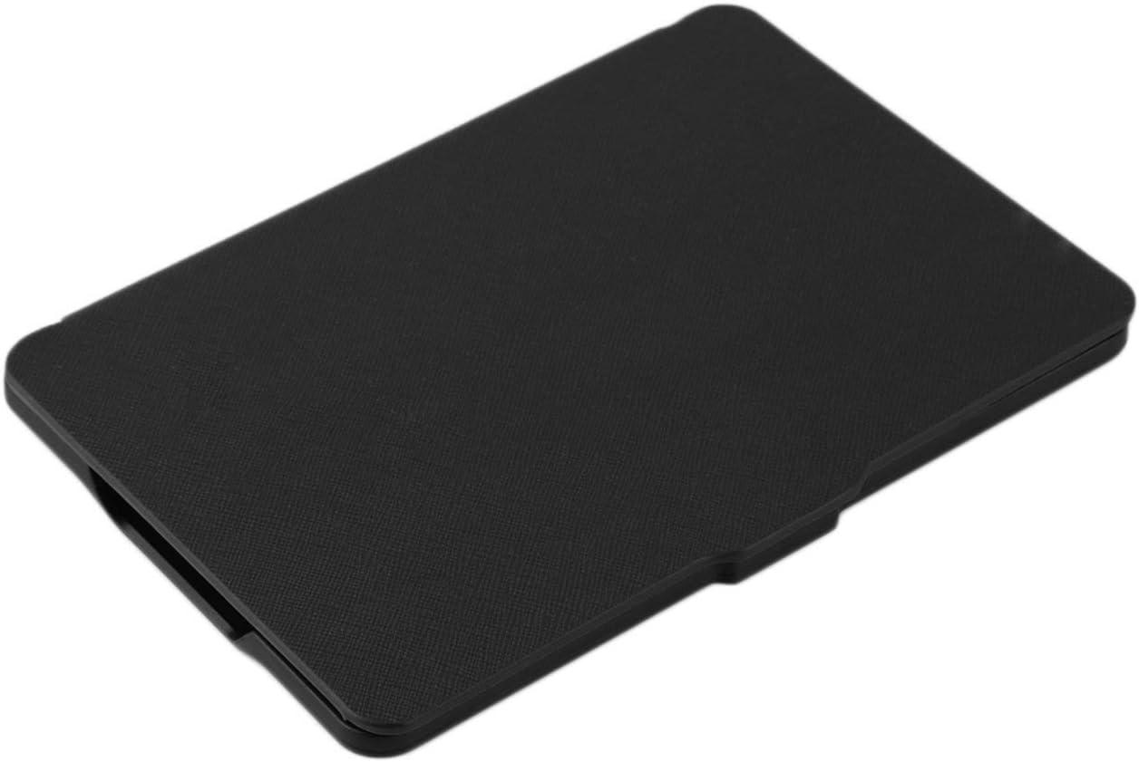 Funda de Cuero PU Ultrafina para Kindle Paperwhite Multicolor Pliegue Abierto Ligero Soporte Universal port/átil Cubierta s/ólida-Negro