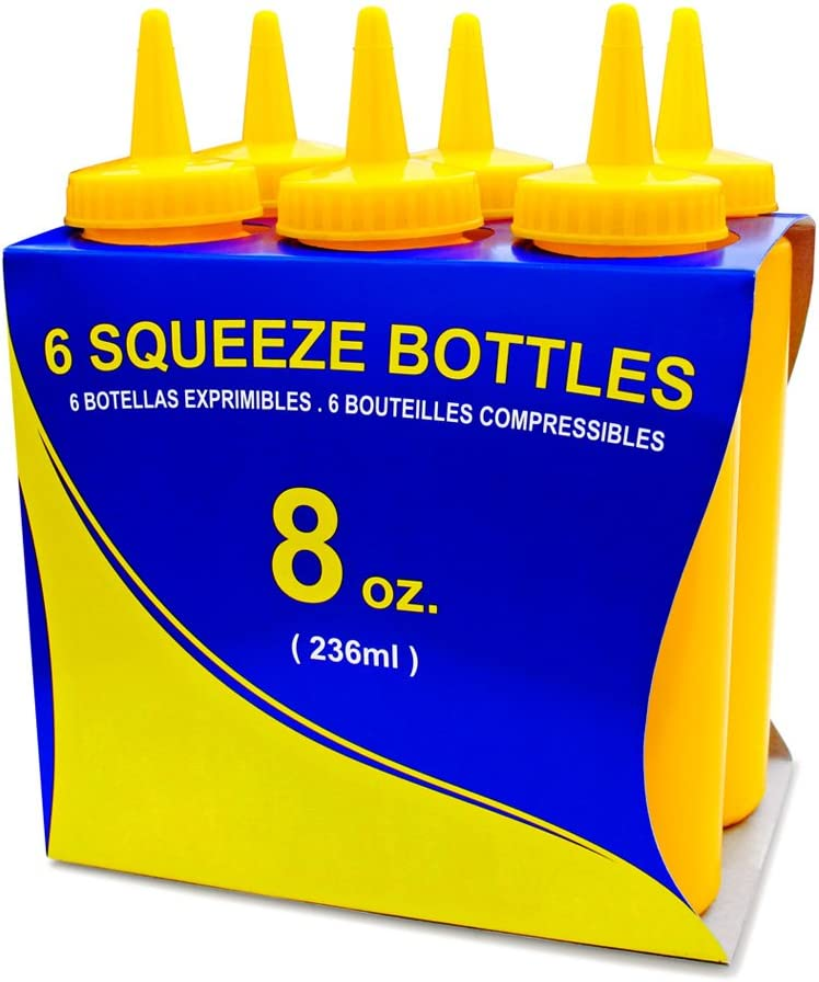 New Star Foodservice 26467 Squeeze Bottles, Plastic, 8 oz, Yellow, Pack of 6