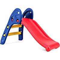 HONEY JOY Kids Climber and Slide Set, Toddler Freestanding Plastic Folding Slides W/ Stairs, Indoor Outdoor Playground Easy Climb Playset for Infants Baby Boy Girl(Round Rail)