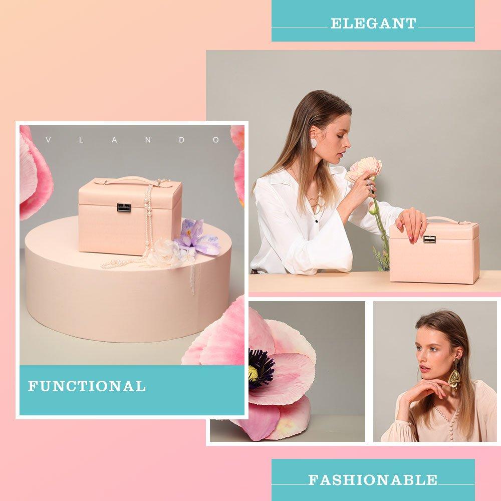 Vlando Jewelry Box, Faux Leather Medium Jewelry Organizer, Vintage gift for Women -Pink-Cross Pattern by Vlando (Image #4)