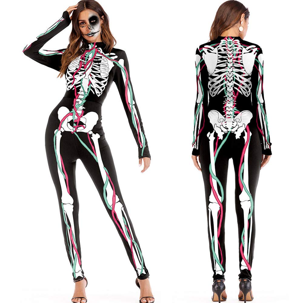 Amazon.com: KpopBaby Women Pants Womens Halloween Cosplay Costume 3D Print Skull Skeleton Bodysuits Stretch Skinny Jumpsuit: Clothing