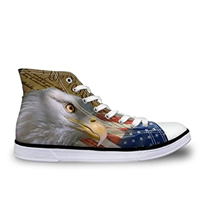 c744a784930 Coloranimal 3D American Flag Eagle Canvas Shoes for Women High Top Lace Up  Flats Vulcanized Shoe