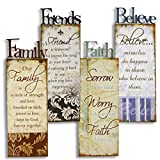 Large 4 Metal Family Friends Faith Believe Wall Art Signs Rustic Country Home Decor Review