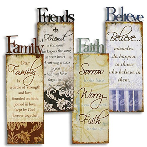 Large 4 Metal Family Friends Faith Believe Wall Art Signs Rustic Country Home Decor by The Big Discount