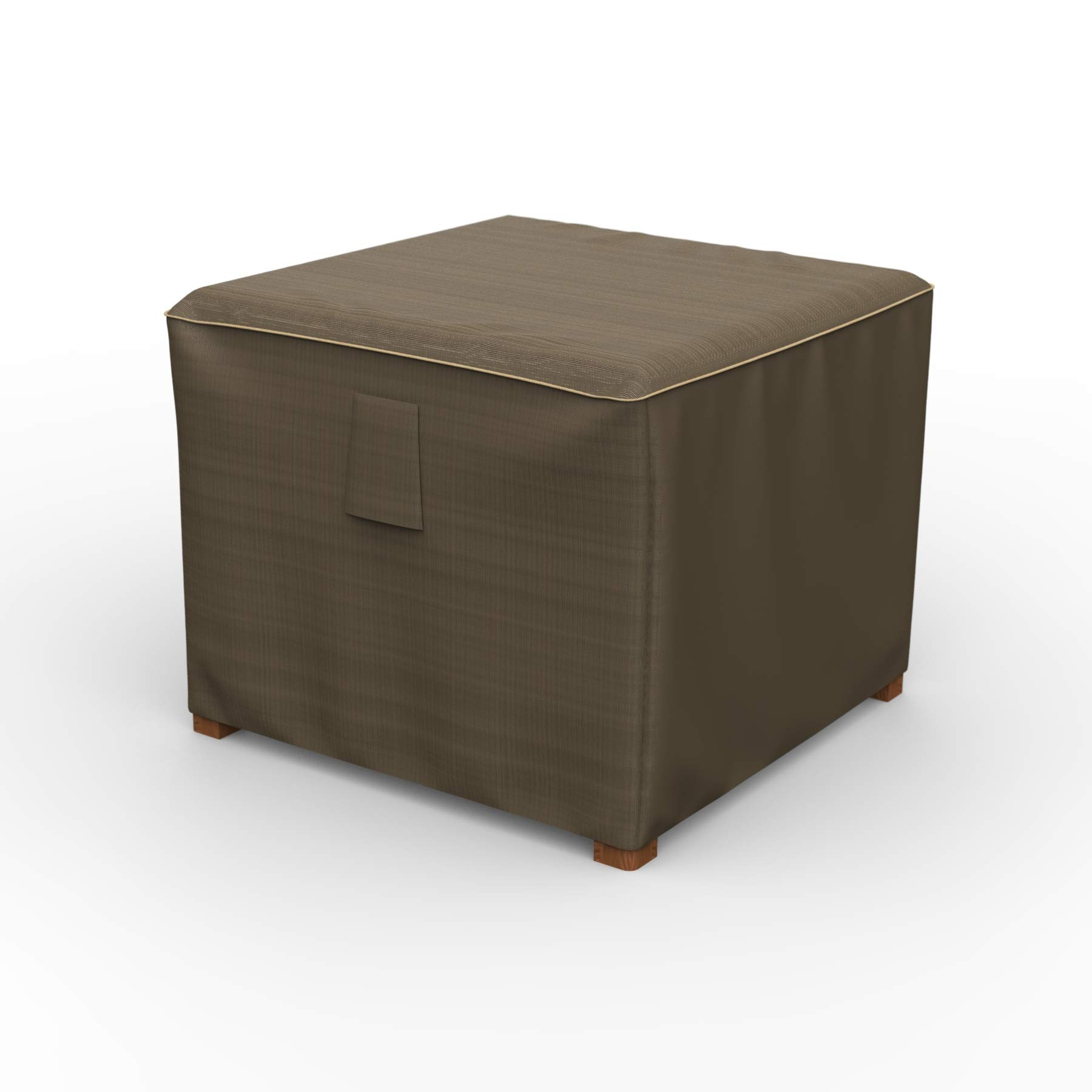 26'' NeverWet Platinum Square Patio Table Cover/Ottoman Cover, Medium (Black and Tan Weave)