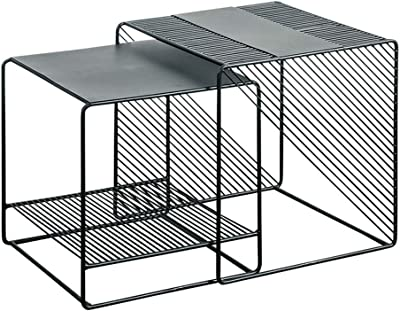 Coffee Tables Nordic Sofa Corner Shelf Living Room Metal Square Table Simple in The Bedroom Simple Flower Stand on The Balcony Stylish Living Room Furniture (Color : Black, Size : 50cm50cm)