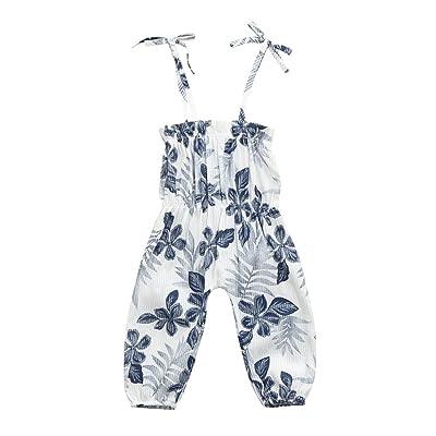 82980ebec40d Fineser Infant Toddler Baby Girls Summer Leaf Print Strap Harem Bodysuit  Romper Jumpsuit One Piece Pants