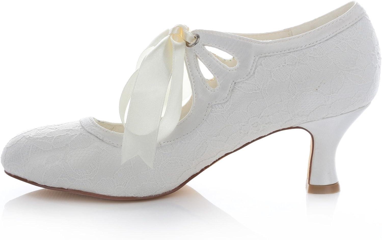 Emily Bridal Zapatos Nupciales Tac/ón Grueso Satinado para Mujer Cerrado