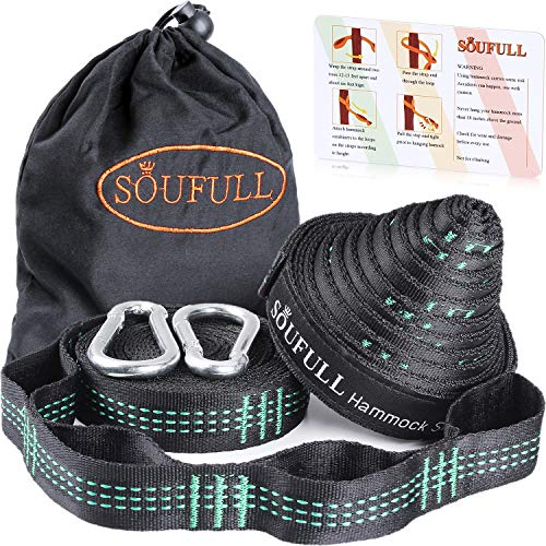 Soufull XL Hammock Straps Outdoor Tree Straps with 2 Carabiners,40 Loops Combined 20Ft Long,1400LBS Breaking Strength,Tree Friendly,Quick&Easy ()