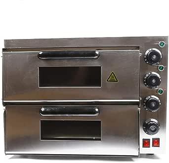Tirremy - Horno eléctrico para pizza (3000 W, acero inoxidable, con 2 capas, para pizza, patatas, pasteles y pasteles): Amazon.es: Grandes electrodomésticos