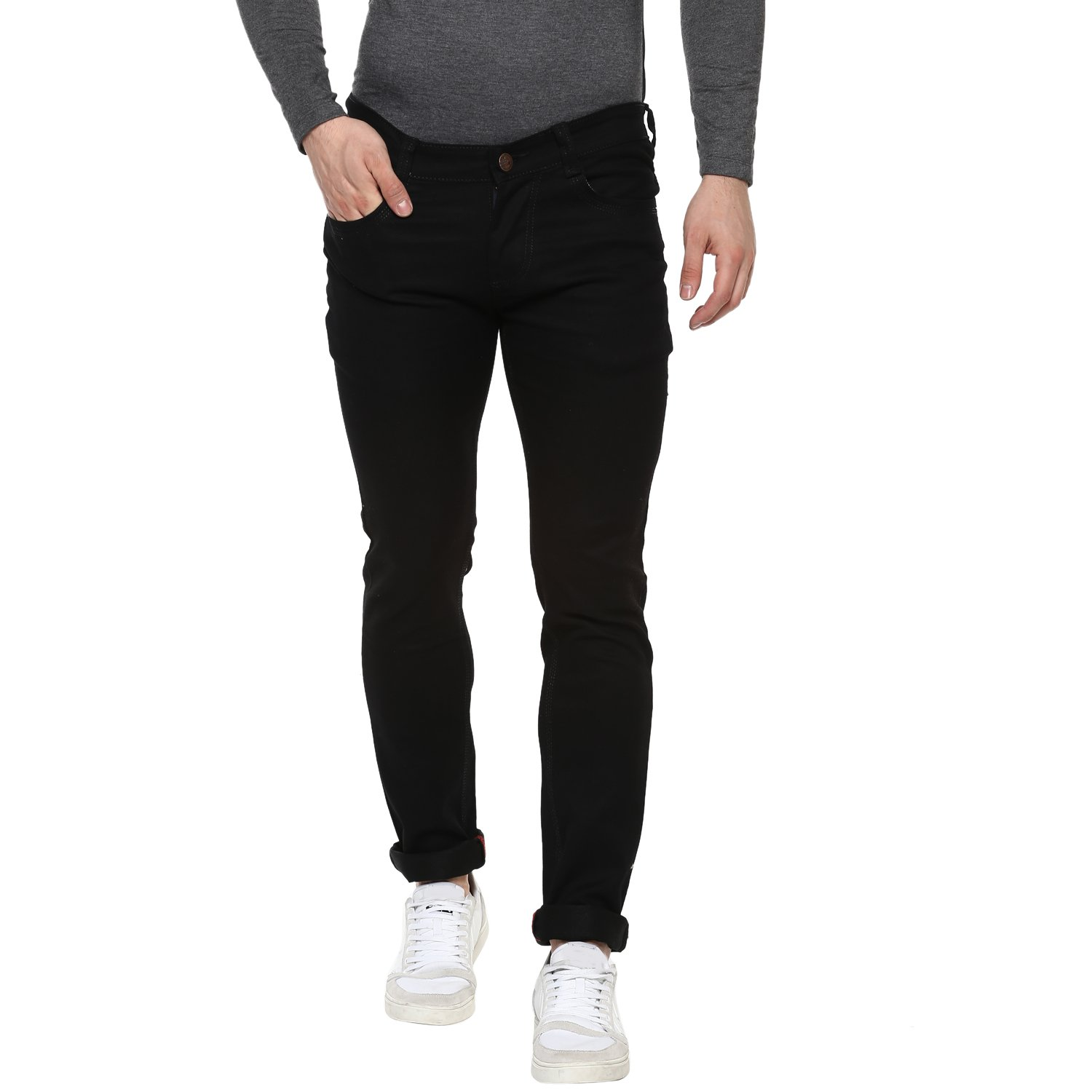 56cd1720733 Urbano Fashion Men's Black Slim Fit Stretch Jeans  Amazon.in  Clothing    Accessories