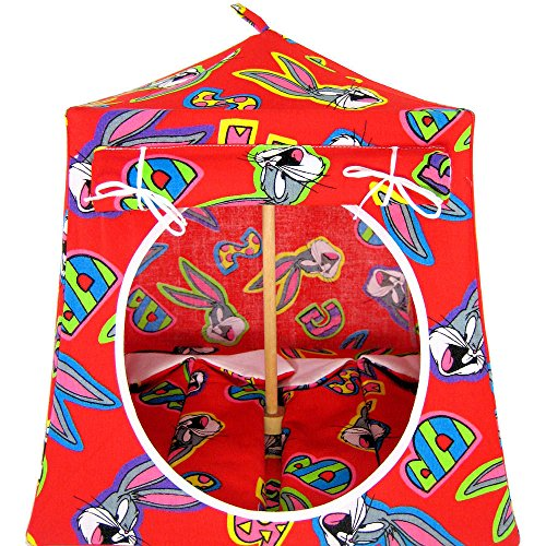toy-play-pop-up-camping-tent-2-sleeping-bags-red-with-bugs-bunny-print-fabric