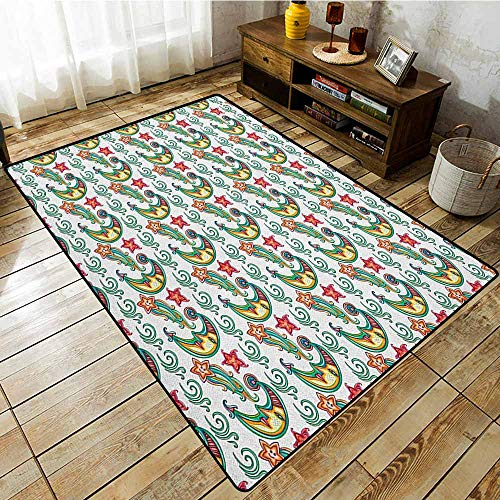Outdoor Patio Rug,Indie,Cute Moon and Comet Star Figures with Human Faces Swirls Magical Fantasy Pattern,Anti-Slip Doormat Footpad Machine Washable,5'6