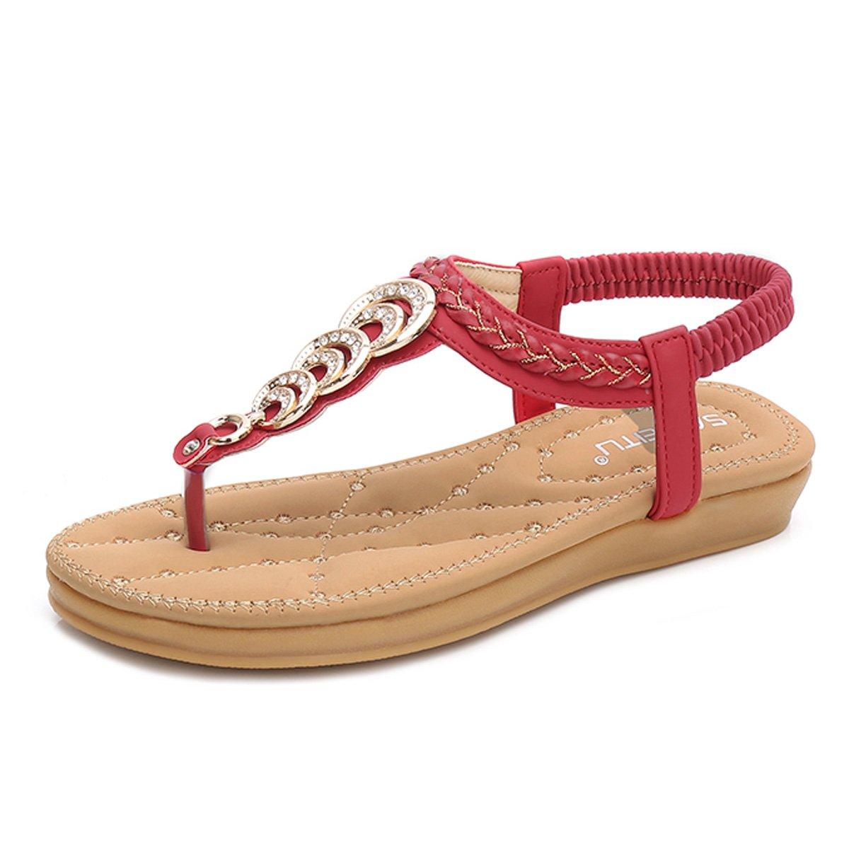 gracosy Damen Sandalen, Flip Flops Sommer Sandals Flach Zehentrenner T-Strap Offen Bouml;hmische Strand Schuhe  41 EU|Rot