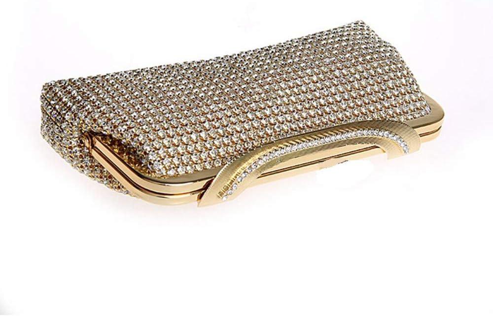 Borsa da Sera da Donna Borsa da Sera per Donna Borsa da Sposa di Damigella d'Onore di Shinning Cristallo Strass Frizione Borsa (Color : Silver) Gold