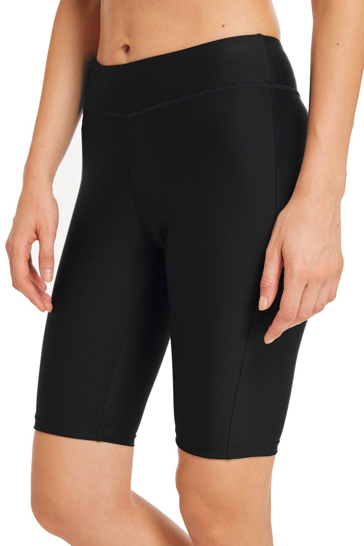 omen's Long Board Shorts High Waist Swim Bottom Solid Jammer