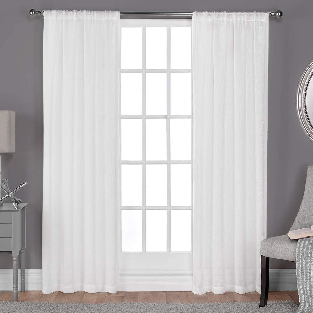 Exclusive Home Curtains Belgian Textured Linen Look Jacquard Sheer Rod Pocket Curtain Panel Pair, 50x96, Winter White