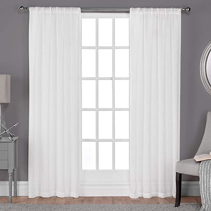 Exclusive Home Curtains Belgian Textured Linen Look Jacquard Sheer Rod Pocket Curtain Panel Pair 50x96 Winter White Home Kitchen Amazon Com