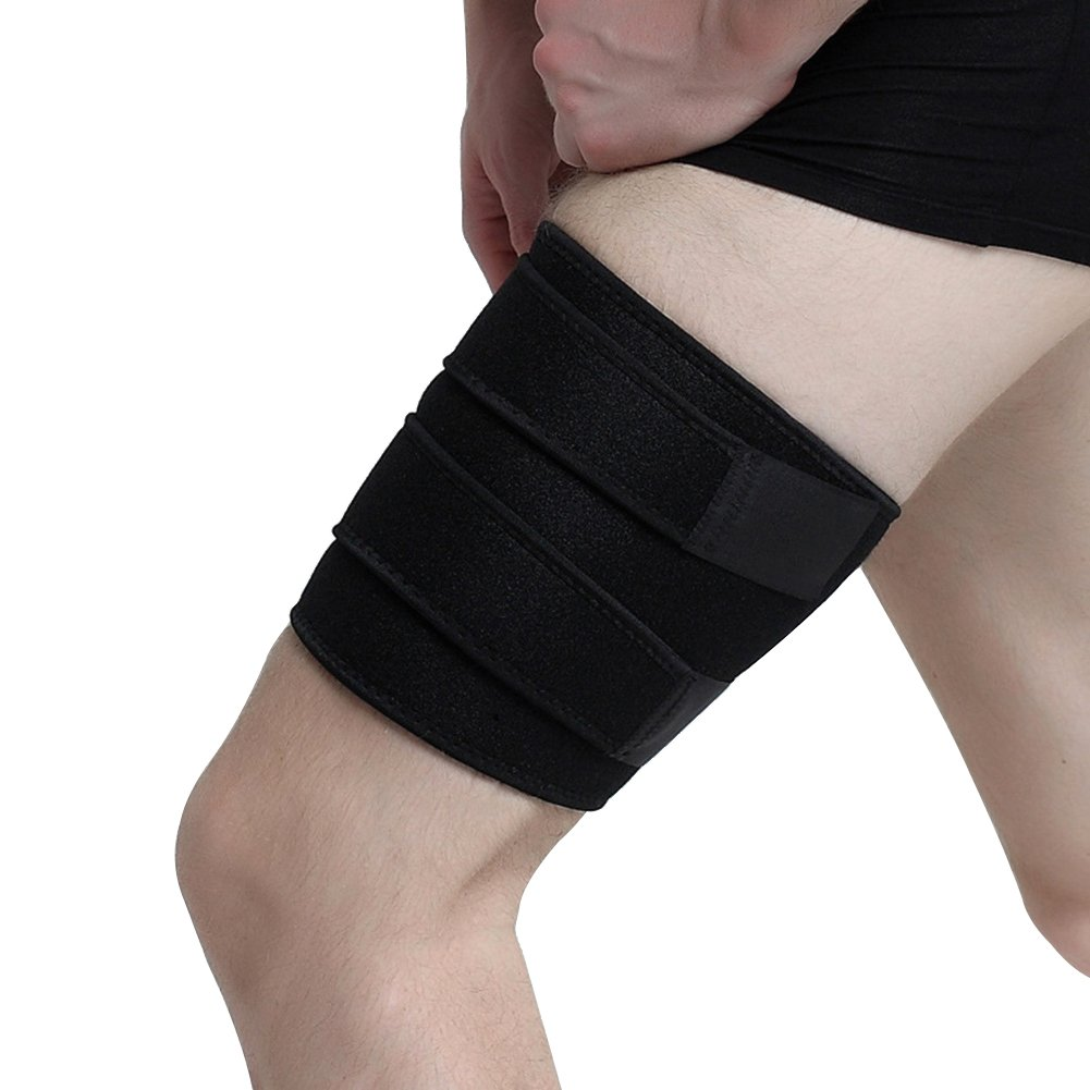 Thigh Support Brace, ESoku Unisex Adjustable Compression Thigh Sleeve Wrap for Sports Injury and Recovery