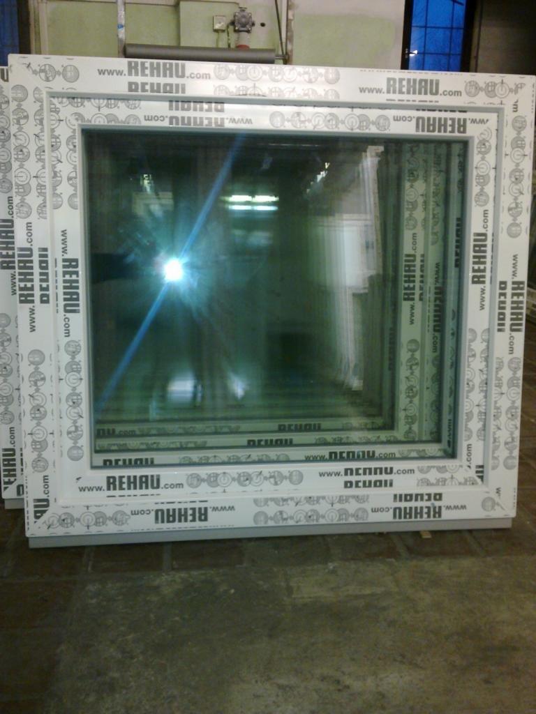 Frisch Kunststofffenster 100 x 90 (b x h), Rehau, 1 flügelig, weiss, Din  YM11