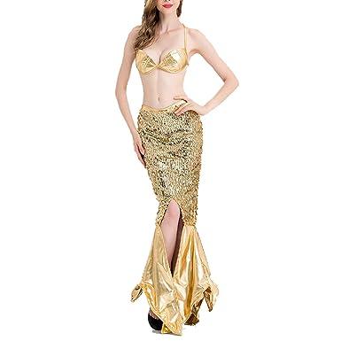 Amazoncom Women Sexy Mermaid Cosplay Costume Gold Sequined Evening