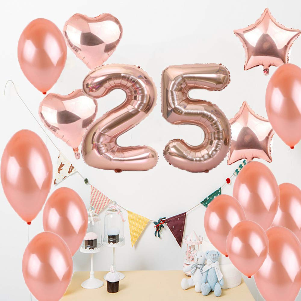 25th Birthday Decorations Party Supplies25th Balloons Rose GoldNumber 25 Mylar BalloonLatex Balloon