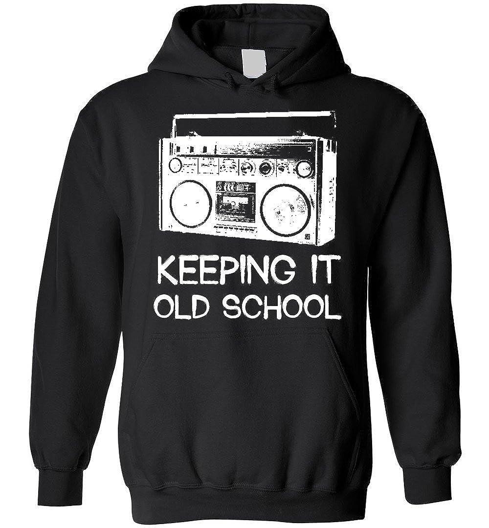 goldbabytee Keeping It Old School Hoodie Retro Music Distressed Tee