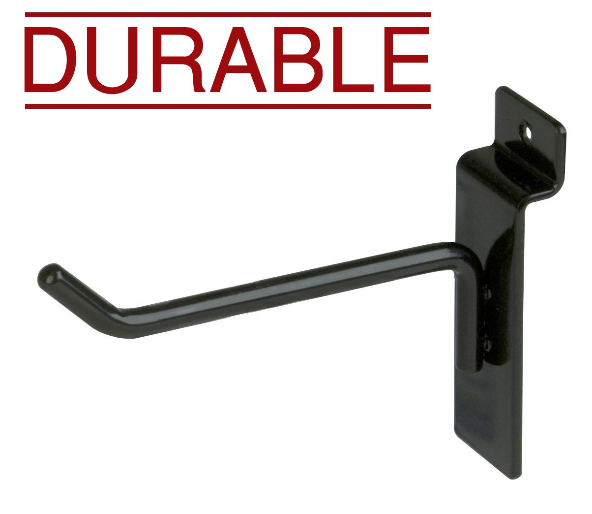 Econoco 4'' Black Deluxe Hooks, Slatwall Hooks, Hook for Slatwall, Display Hooks For Panel, Semi-Gloss Black, Pack of 96