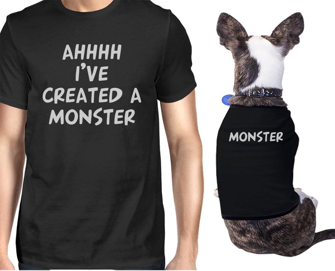 365 Printing Created A Monster - Conjunto de Regalo a Juego para el dueño de una pequeña Mascota Negro Negro ONWER - L/Pet - L