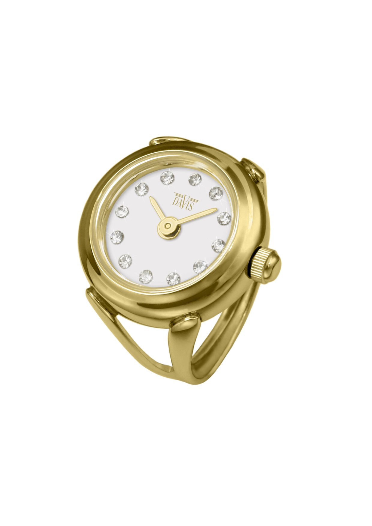 Davis 4174 - Womens Finger Ring Watch Yellow Gold White Dial Swarovski Crystal Rhinestones Sapphire Glass Adjustable