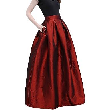 a6c5b8a8759f LINNUO Femme Jupe Patineuse Taille Haute Vintage Jupe Longue Plissée avec  Deux Poches