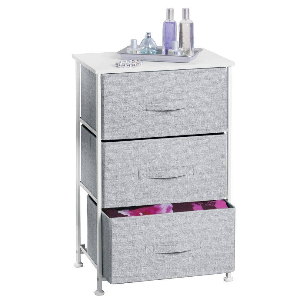 mDesign Vertical Dresser Storage Tower - Sturdy Steel Frame, Wood Top, Easy Pull Fabric Bins - Organizer Unit for Bedroom, Hallway, Entryway, Closets - Textured Print - 3 Drawers - Gray/White by mDesign